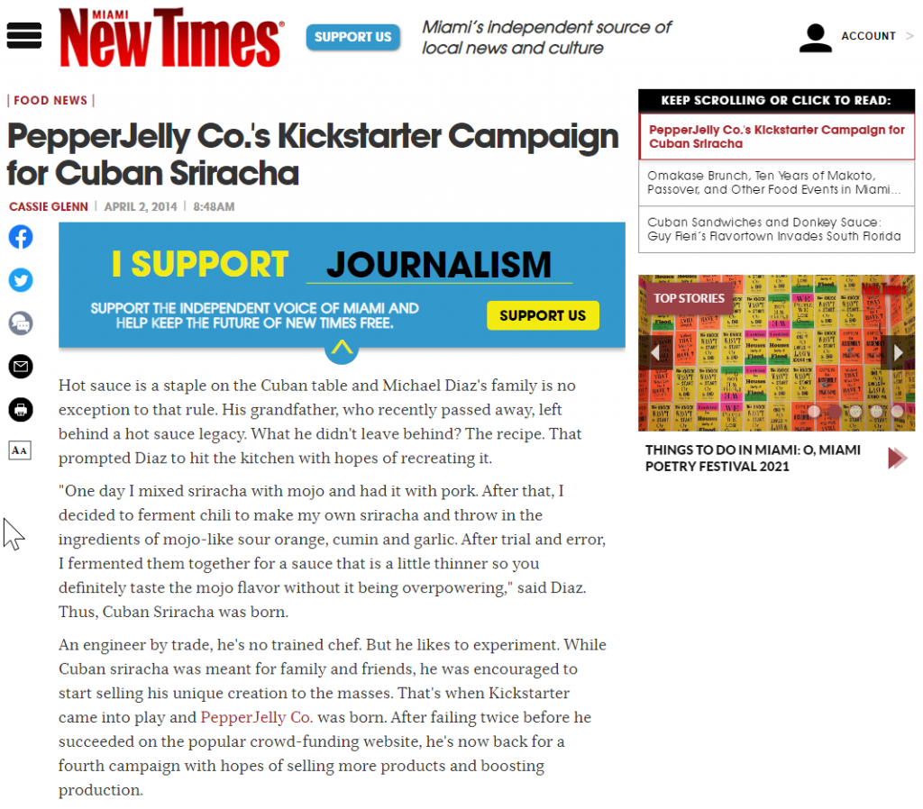 PepperJelly Co. in the Miami New Times